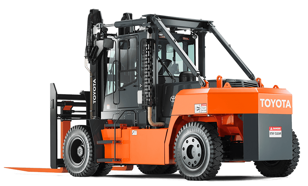 orange and black toyota forklift